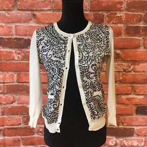 J CREW Island Paisley Cotton Voile Knit Cardigan